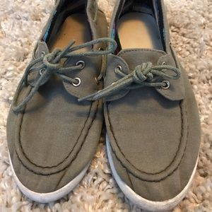 Shoes - Sperry style shoes olive green